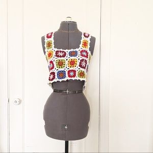 Forever 21 granny squares crochet knit crop top